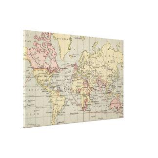 Impressão Em Canvas Mapa do vintage do mundo (1914)