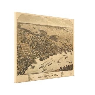 Impressão Em Canvas Mapa pictórico do vintage de Jacksonville FL