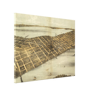 Impressão Em Canvas Mapa pictórico do vintage de Madison Wisconsin