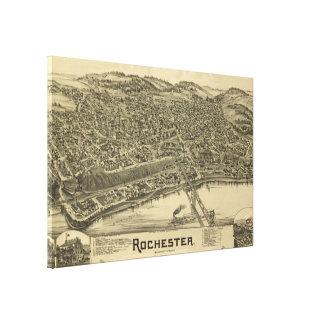 Impressão Em Canvas Mapa pictórico do vintage de Rochester PA (1900)
