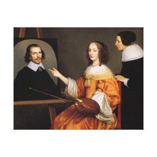 Impressão Em Canvas Margareta Maria de Roodere e seus pais