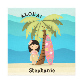 Impressão Em Canvas Menina havaiana do surfista