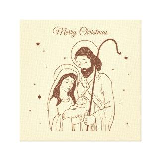 Impressão Em Canvas Merry Christmas - Jesus, Mary and Joseph