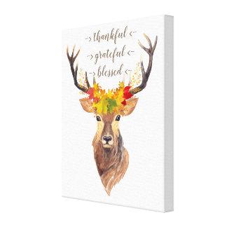 Impressão Em Canvas Monograma da acção de graças da cabeça dos cervos