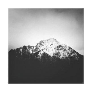 Impressão Em Canvas Montanha nevado preto e branco