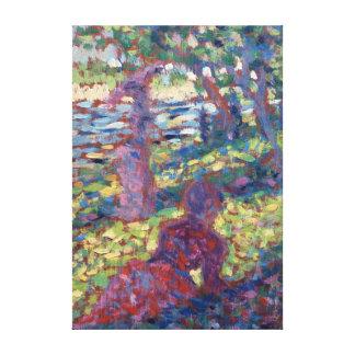 Impressão Em Canvas Mulher de Georges Seurat em um parque
