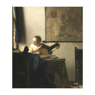 Impressão Em Canvas Mulher de Johannes Vermeer com um alaúde