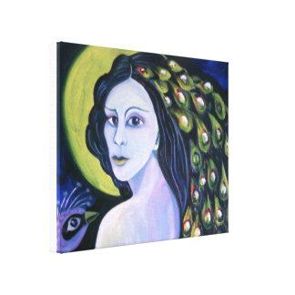 Impressão Em Canvas Mulher do pavão