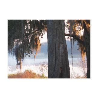 Impressão Em Canvas Nascer do sol em um lago enevoado pequeno no sul