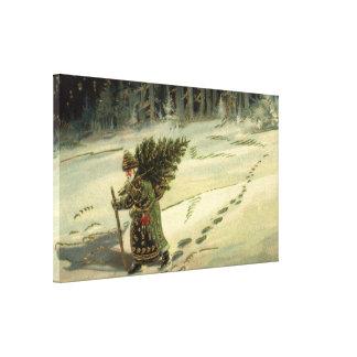 Impressão Em Canvas Natal vintage, Papai Noel que leva uma árvore