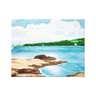 Impressão Em Canvas Navigação na pintura do rio de Helford