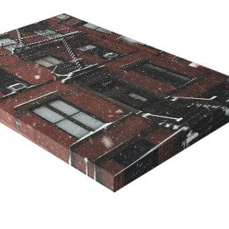 Impressão Em Canvas Neve superior do escape de fogo NYC do Brownstone