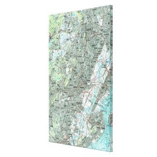 Impressão Em Canvas Newark NJ e arredores Mapa (1986)