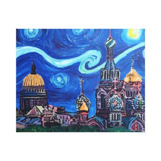 Impressão Em Canvas Noite estrelado em St Petersburg Rússia