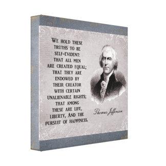 Impressão Em Canvas Nós guardaramos estes trurths - Thomas Jefferson