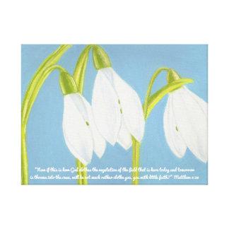 Impressão Em Canvas O deus veste o campo Scripture~SnowDrops da