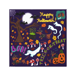 Impressão Em Canvas O Dia das Bruxas do Dachshund da diva