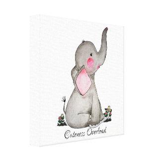 Impressão Em Canvas O elefante bonito do bebê da aguarela com cora &