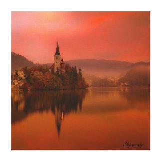 Impressão Em Canvas O lago sangrou a beleza natural do por do sol | de