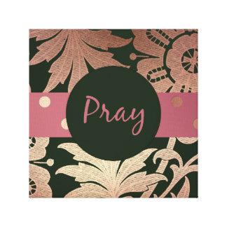 Impressão Em Canvas O ouro preto e cor-de-rosa floral PRAY
