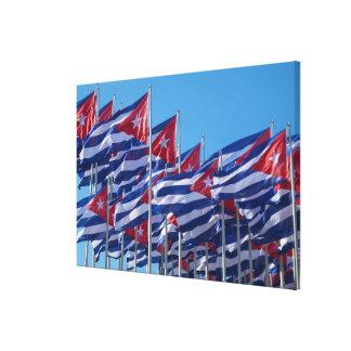 Impressão Em Canvas Ondulação cubana das bandeiras