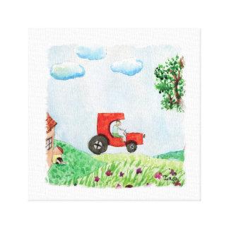 Impressão Em Canvas Opinião do campo da aguarela com a parede das