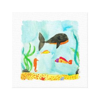 Impressão Em Canvas Opinião do mar da aguarela com baleia e cavalo