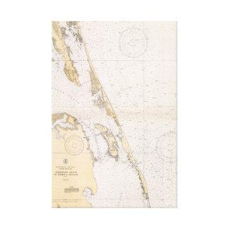 Impressão Em Canvas Os bancos exteriores da carta náutica de North