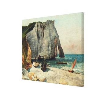 Impressão Em Canvas Os penhascos de Etretat, o porto de Avale