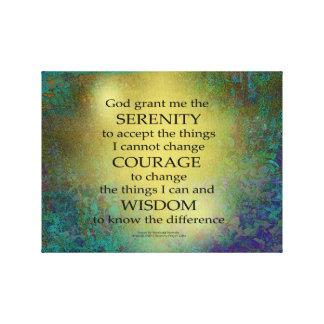 Impressão Em Canvas Ouro da oração da serenidade em azul esverdeado