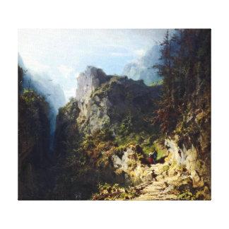 Impressão Em Canvas Paisagem da montanha de Carl Spitzweg com amantes