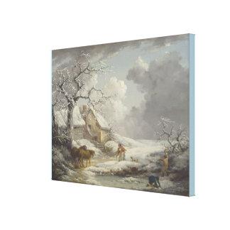 Impressão Em Canvas Paisagem do inverno por George Morland