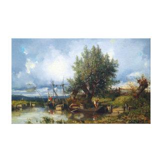 Impressão Em Canvas Paisagem do rio de Camilo Flers com pescadores