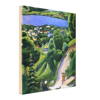 Impressão Em Canvas Paisagem no Teggernsee com um homem de leitura
