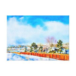 Impressão Em Canvas Paisagem Reno da aguarela do inverno, nanovolt