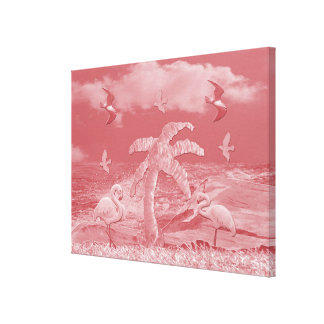 Impressão Em Canvas Palmeira cor-de-rosa dos flamingos