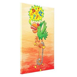 Impressão Em Canvas Papagaio verde furioso que diz palavras más
