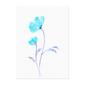 Impressão Em Canvas Papoila azul abstrata da aguarela