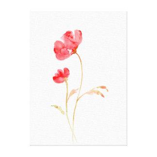 Impressão Em Canvas Papoila vermelha abstrata da aguarela