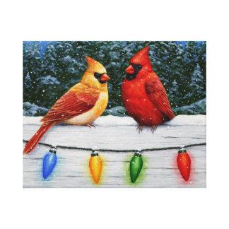 Impressão Em Canvas Pássaros e luzes de Natal cardinais