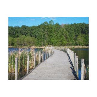 Impressão Em Canvas Passeio à beira mar de madeira do parque do lago