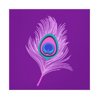 Impressão Em Canvas Pena do pavão da orquídea no roxo Amethyst