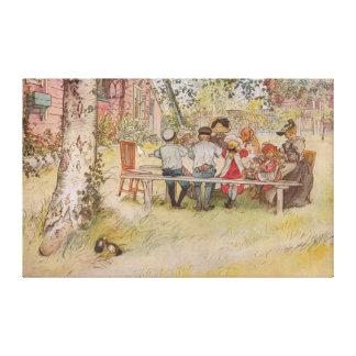 Impressão Em Canvas Pequeno almoço de Carl Larsson sob o vidoeiro
