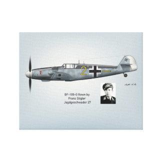 Impressão Em Canvas Perfil de BF-109G Franz Stigler