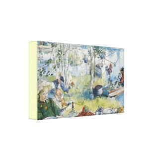 Impressão Em Canvas Pesca de Carl Larsson Cray do vintage com a