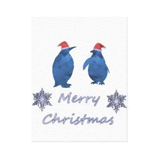 Impressão Em Canvas Pinguins do Natal