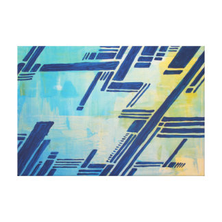 Impressão Em Canvas pintura abstracta - azul