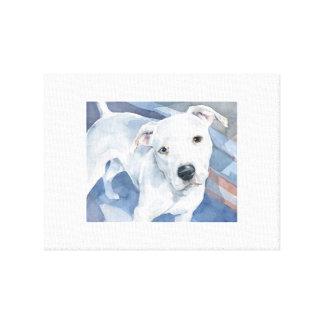 Impressão Em Canvas Pintura branca da aguarela do filhote de cachorro