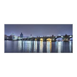 Impressão Em Canvas Ponte de Praga Charles na noite