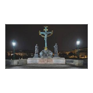 Impressão Em Canvas Ponte Jesus de Praga Charles na cruz na noite